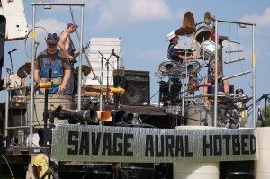 Found-object percussion band Savage Aural Hotbed performing at last year's pour.